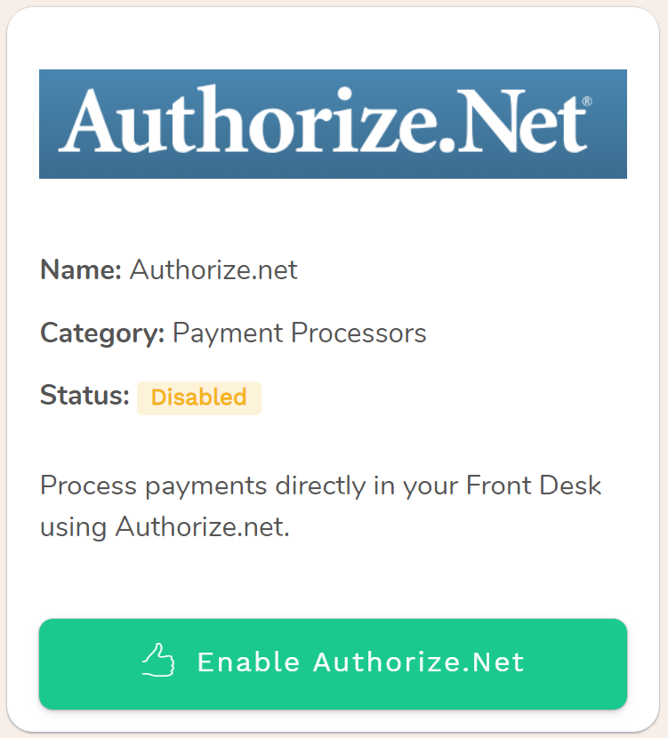 Authorize.Net, process Hotel payments through the world's leading payment processor